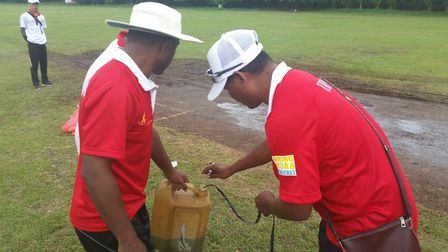 Getting a wicket ready in Indonesia