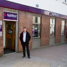 Steve Clarke outside NatWest Bank. Ref shs 18 18TI 3049. Picture: Terry Ife