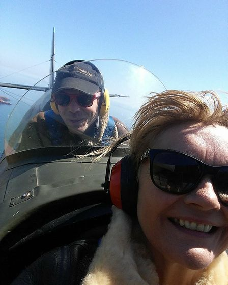 Zac Rockey and Trudi Spiller in the plane on Saturday before things started going down hill.