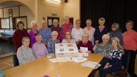 Members of Sidford WI are preparing a 100 piece banner to celebrate 100 years. Ref shs 18 18TI 2146.