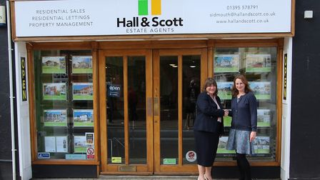 Claire McHugh, Sidmouth Voluntary Services' manager, with Julia Turner from Hall and Scott Estate Ag