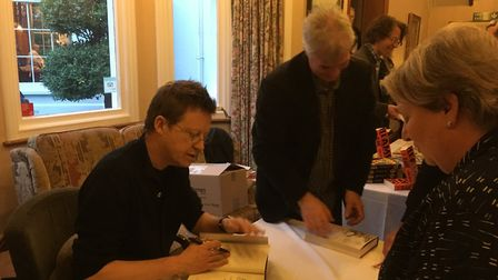 Simon Mayo signs copies of his novel at the Sidholme Hotel in Sidmouth