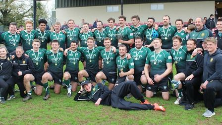 Sidmouth RFC after their wonderful success in the final of the Devon Intermediate Cup at Cullompton