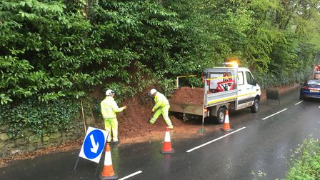 Highways staff remove pile of earth 'caused by badgers'