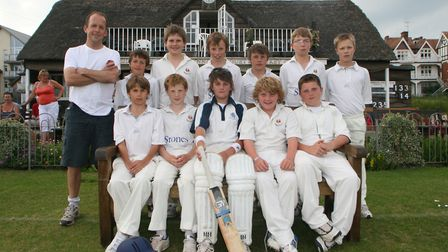 The Sidmouth Under-13s with Dom Bess (second from the right in the seated row). Back row (left to ri