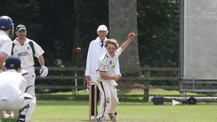 Dom Bess bowling for Sidmouth 2nd's against Bovey Tracey in August 2012. Photo by Terry Ife ref shsp