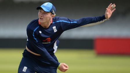 Dom Bess in pre-Test match training prior to making hsi England debut against Pakistan at Lords