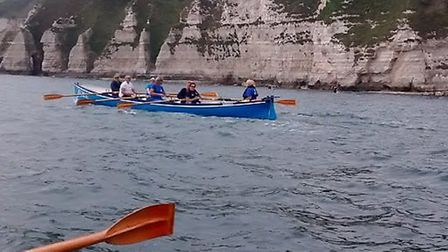 Sidmouth Gig Club crews on their way back to Sidmouth after breakfasting at Beer