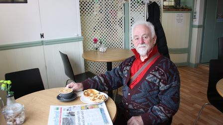 Graham Bungay was the first customer to enjoy the food and drink on offer at the new Woolbrook tea r