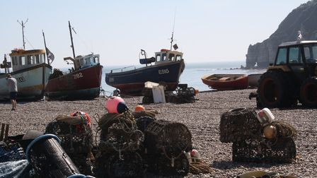Fishing boats on the beach at Beer - where have all the crab gone?