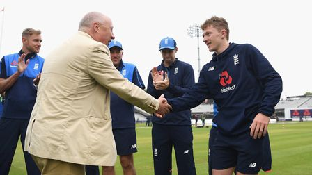 LONDON, ENGLAND - MAY 24: Vic Marks presents Dominic Bess with his cap ahead of his international d