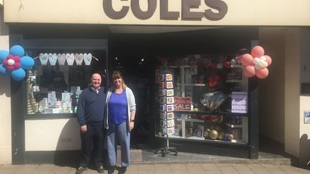 Colin and Kylie Cramb outside Coles on Sidmouth High Street.