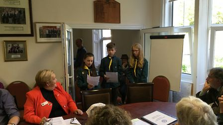 Scouts Amelie Serino, Archie Cole and Rosanna Dickason make a presentation to the Council