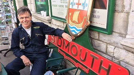 Nick Thompson with a replica of the Sidmouth nameplate