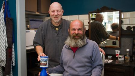 David Hodge will be having his beard shaved for Sidmouth Lifeboat by local barber Philip Weaver. Ref
