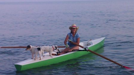 Laura Loudon-Griffiths on her rowing boat.