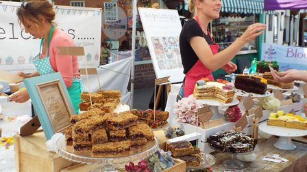 Customers treated themselves to delicious cakes from one of the stalls.
