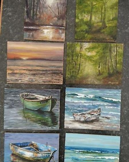 East Devon artist, Jacqueline Steel and a selection of her work. Picture: Jacqueline Steel