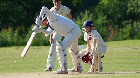 Matt Jeacock closes eyes behind stumps as David Thayre is bowled by Lawrence Walker. Picture PHIL WR