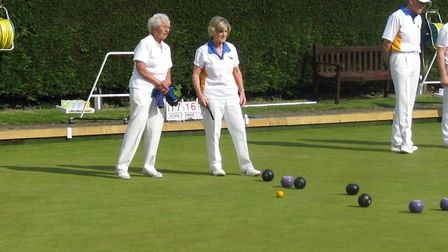 Action from the green at Ottery St Mary