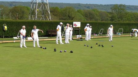 Action from the green on another beautfiul day at Ottery St Mary