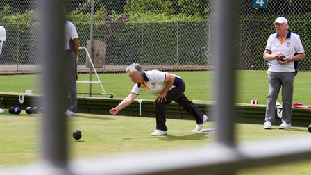 Sidmouth Bowls members ina mixed umbrella competition. Ref shsp 21 18TI 4081. Picture: Terry Ife