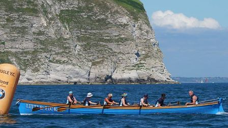 Sidmouth ladies B crew in action at the Swanage Regatta. Picture ANDY'S GIG PHOTOGRAPHY www.andysgig