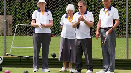 Sidmouth Bowls members ina mixed umbrella competition. Ref shsp 21 18TI 4072. Picture: Terry Ife