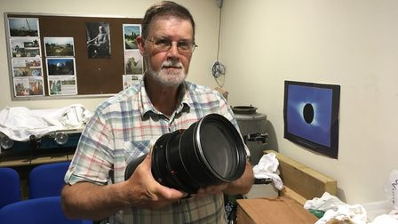 David Strange of the Norman Lockyer Observatory with lens from old telescope