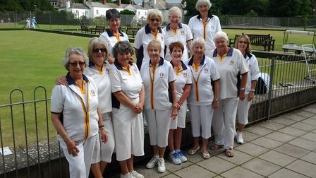 The Sidmouth lady bowlers who enkoyed a superb success in their Grace Matthews Topclub meeting with