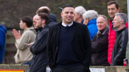 Exmouth Town manager Richard Pears at the home match against Corinthians in the F.A Vase. Ref exsp 0