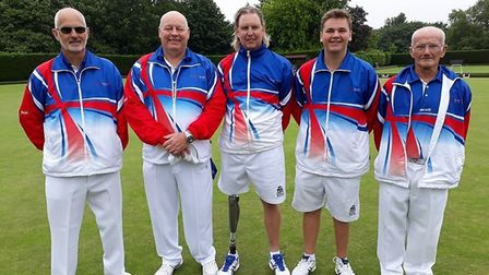The England Four with Ottery St Mary bowler Kevin Vernon second left