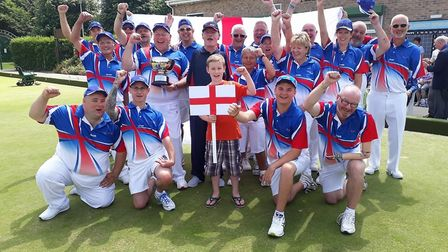 The England bowls team after their Home nationals tournament success with Ottery St Mary bowler Kevi