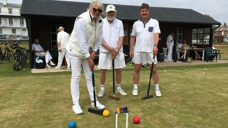 Julie Sorrell, Andrew Thomas and Jon Ball of Sidmouth Croquet Club