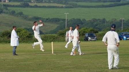 Kevin McMeeking bowling for Tipton St John in the game against Nancledra during the club's 2018 Corn