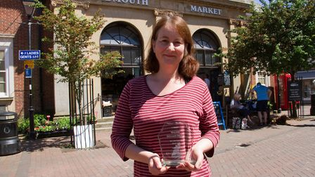 Judith Taylor of Wayside Market with her business award. Ref shs 24 18TI 5104. Picture: Terry Ife