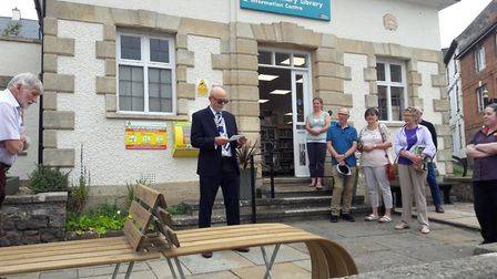 Mayor Paul Bartlett says a few words at an opening event for the new bench at poets corner.
