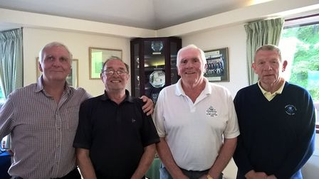 Sidmouth men's Open home winning team of George West, Brian Leach and Don Cooper, seen here with Sid
