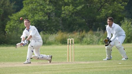 Tipton St John batsman David Jessop in action in the game against The Full Monty from Shepton Montag