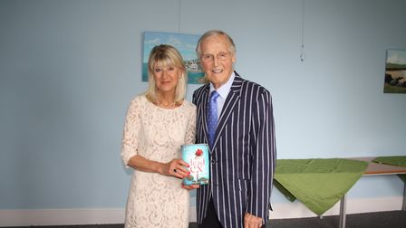 Festival organiser Jane Corry and Nicholas Parsons