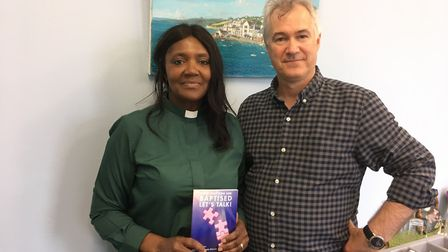 Bookshop owner Wayne Winstone and the Rev Angela Briscoe
