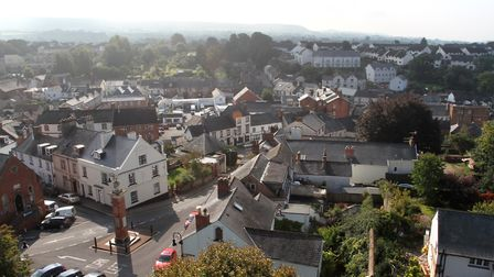 Fantastic far reaching views from the roof of the bell tower of Ottery St Mary parish church. Ref sh