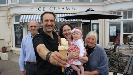 Mmmm apple pie flavour - Matthew Weaver with father Alan, wife Emma, daughter Abigail and mother Pea