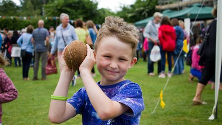 Holding his prize aloft at Sidbury Fete. Ref shs 25 18TI 5775. Picture: Terry Ife