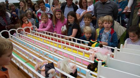 Pig racing at Sidbury Fete. Ref shs 25 18TI 5749. Picture: Terry Ife