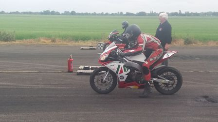 Baxter Williams, on his four-stroke Apilia all set for his semi-final at Lincolnshire and about to r
