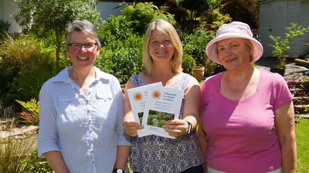 Denise Rendell,Heather Bewick and Cheryl Allen of Sidmouth in Bloom open gardens. Ref shs 24 18TI 50