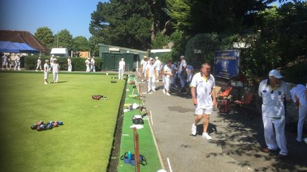 Ottery St Mary bowlers on their 'Away Day' visit to Moordown BC in Bournemouth