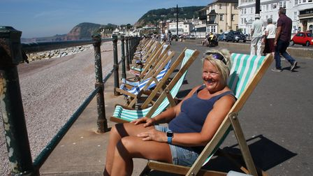 Gina Rodgers surveys the beach from the comfort of a traditional deckchair