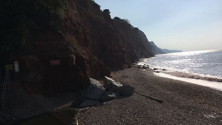 The latest cliff fall in Sidmouth, June 2018.